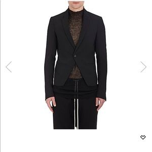 Cropped stretch virgin wool one button sorts coat